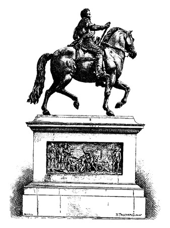 Statue of Henri IV on the Pont Neuf, vintage engraved illustration. Paris - Auguste VITU – 1890.