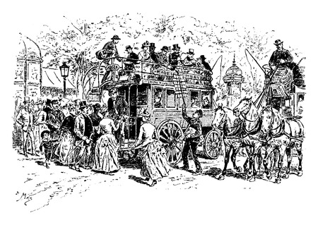 illustration: A bus station, vintage engraved illustration. Paris - Auguste VITU – 1890.