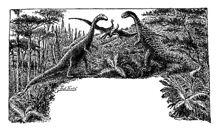 giant: The Jurassic Period, The reign of the giant lizards, vintage engraved illustration. Earth before man – 1886.