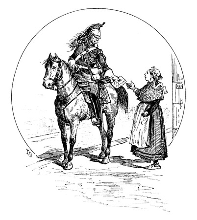 postmaster: Courier custody of Paris, vintage engraved illustration. Paris - Auguste VITU – 1890.