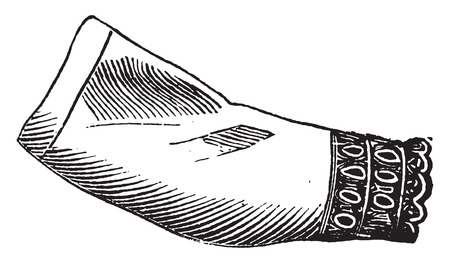 the sleeve: Victor collar and sleeve, vintage engraved illustration.