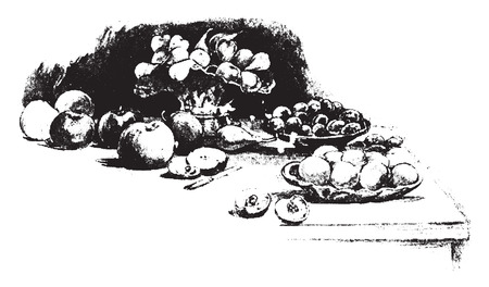 indulgence: A tempting array, vintage engraved illustration.