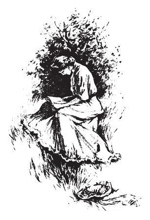mujer leyendo libro: Sentarse en el sol, cosecha ilustración grabada.