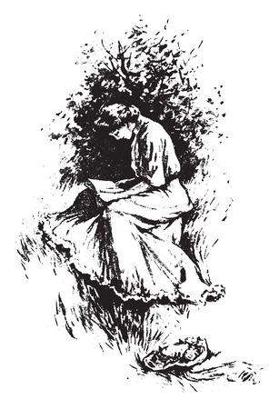 old people reading: Sit in the sun, vintage engraved illustration. Illustration