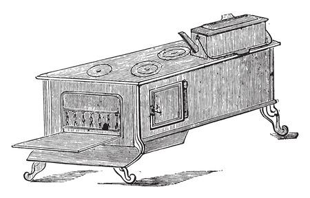 structure metal: Great restaurant stove, vintage engraved illustration.