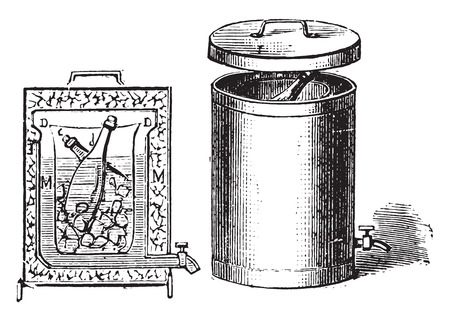 cold storage: Fountain for storing ice for 24 hours, vintage engraved illustration.