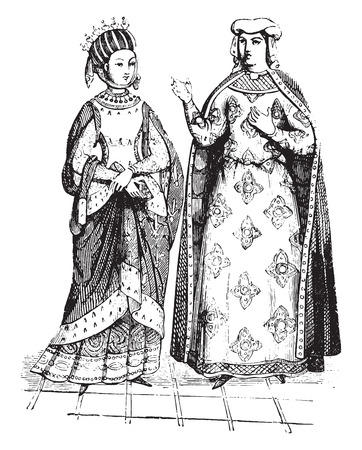 カスティーリャのブランシュとプロバンスのマーガレット、ヴィンテージには図が刻まれています。  イラスト・ベクター素材