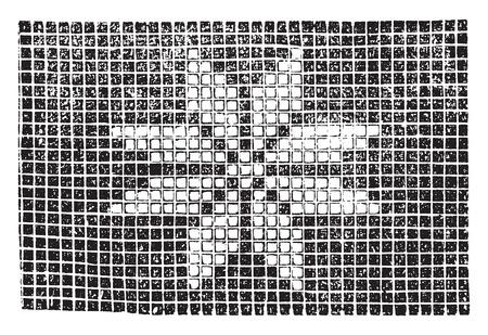 Crochet star for quilt, vintage engraved illustration.