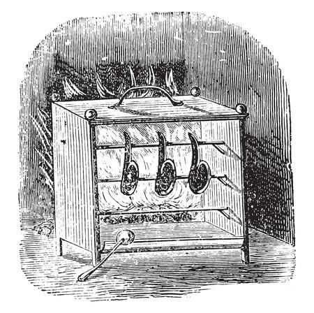 Stove grill (open), vintage engraved illustration. Illustration