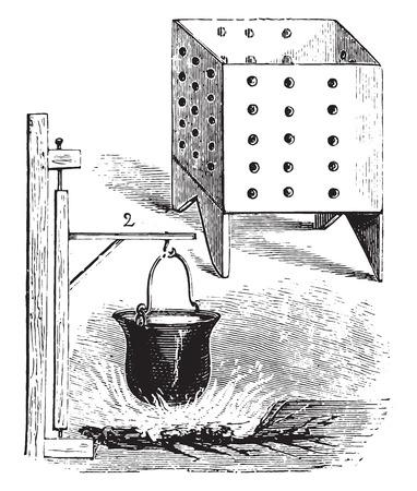 Cheese, vintage engraved illustration. Ilustração
