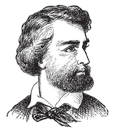 Caucasian man, vintage engraved illustration.