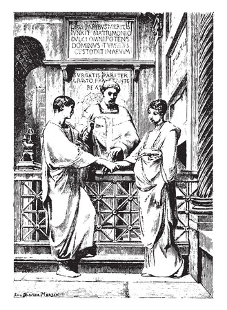 marriage ceremony: Christian marriage in the first centuries of the church, vintage engraved illustration. Illustration