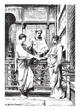 casamento: Matrimónio cristão nos primeiros séculos da Igreja, vintage gravado ilustração.
