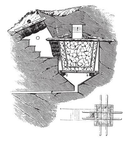 icebox: Small economic icebox, vintage engraved illustration.