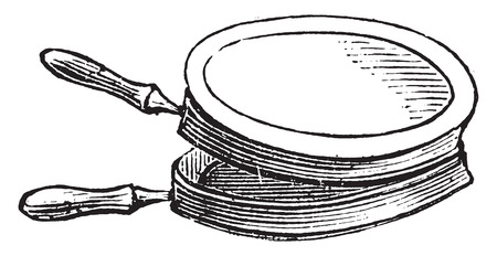 chops: Pan for cooking chops on the stove for lunch, vintage engraved illustration.