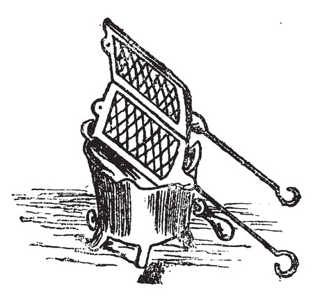 waffle: Waffle turning, vintage engraved illustration.