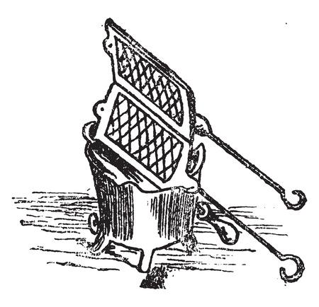 black appliances: Waffle turning, vintage engraved illustration.
