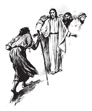 lepra: Como fue la curación del leproso, ilustración de la vendimia grabado.
