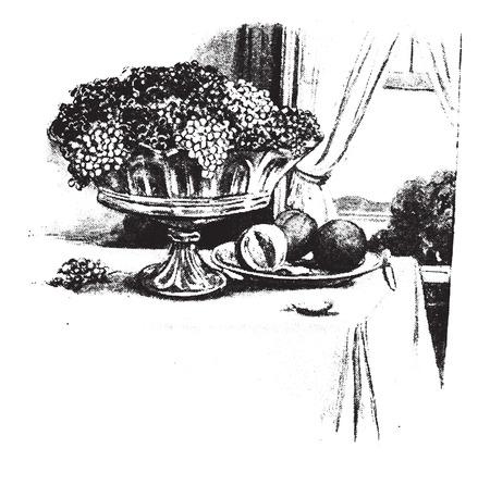 feast: What a feast!, vintage engraved illustration. Illustration