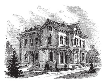 arch: Suburban residence in the Italian style, vintage engraved illustration.