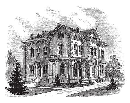 residence: Suburban residence in the Italian style, vintage engraved illustration.