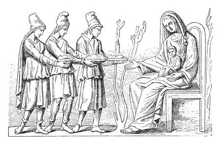 child jesus: Virgin and holy Magi, vintage engraved illustration.