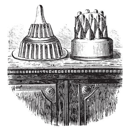 temptation: Jelly sweets, vintage engraved illustration.