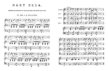 Composed and arranged for the piano-forte, vintage engraved illustration. Ilustração