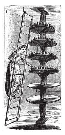pyramidal: Movable pyramidal fruit, vintage engraved illustration. Illustration