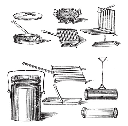 tin: Grills, vintage engraved illustration. Illustration