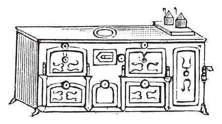 英語のストーブ、ヴィンテージには、図が刻まれています。