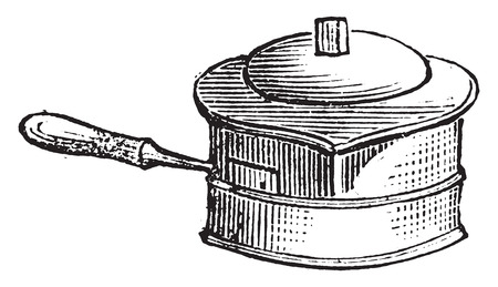 casserole: Casserole for liquid cooking on the stove for lunch, vintage engraved illustration. Illustration