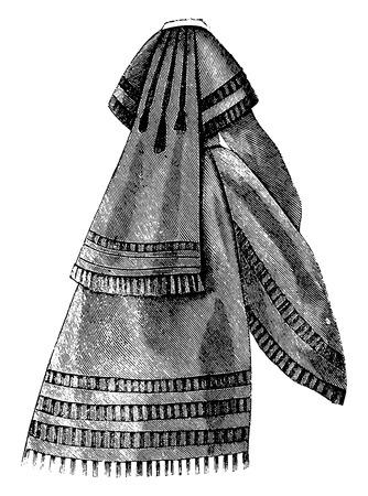 white coat: Paletot, vintage engraved illustration. Illustration