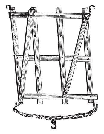 harrow: Harrow diamond on horseback, vintage engraved illustration.