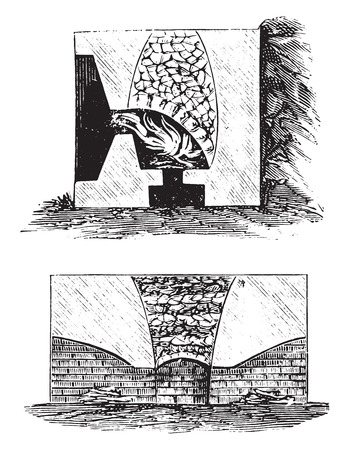 intermittent: Lime kilns, vintage engraved illustration. Illustration