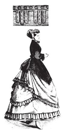 braid: Border in braid and beads, vintage engraved illustration. Illustration