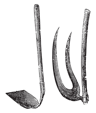 hoe: Hoes, vintage engraved illustration. Illustration