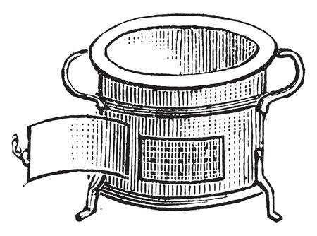furnace: Furnace for lunch, vintage engraved illustration.