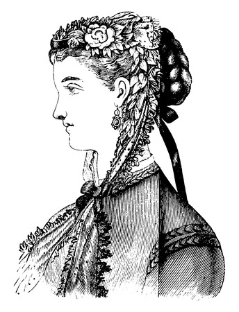 style woman: Black lace bonnet, vintage engraved illustration.
