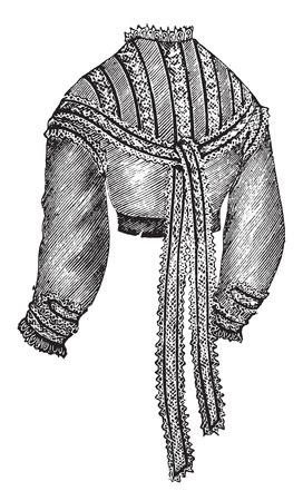 muslin: Muslin wais, vintage engraved illustration.