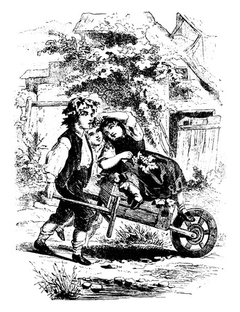 handcart: Happiness, vintage engraved illustration.
