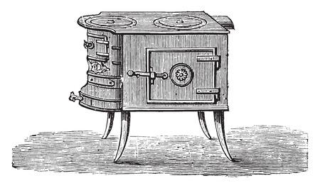 burners: Furnace metal, vintage engraved illustration.