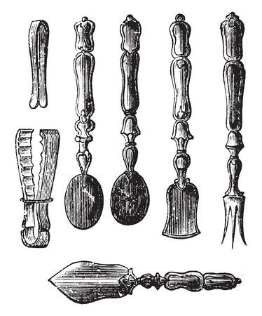 atun: Aperitivos Box, ilustración de la vendimia grabado.