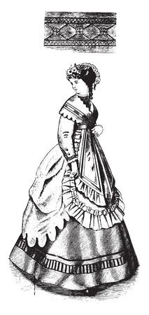 femme dessin: Border en boutonnière et coudre à chevrons, illustration vintage gravé.