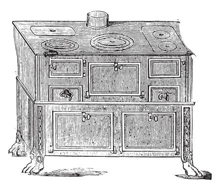 furnace: Furnace metal, vintage engraved illustration.