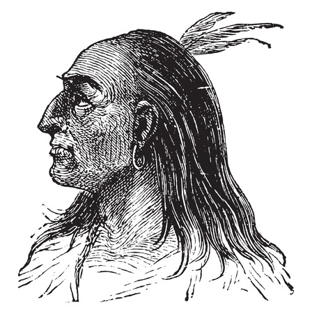 indian old man: Red or American race, vintage engraved illustration.