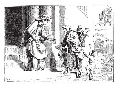 rescuing: Saint Bathilde rescuing unhappy, vintage engraved illustration.