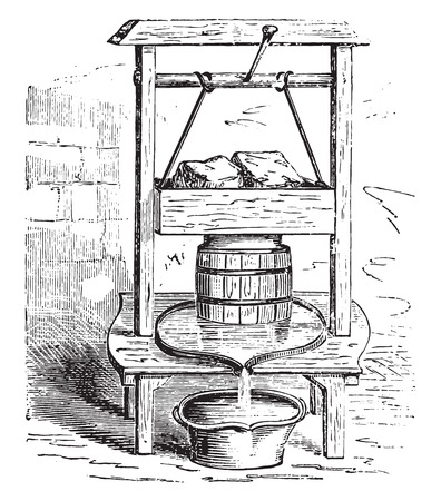 A cheese press, vintage engraved illustration.