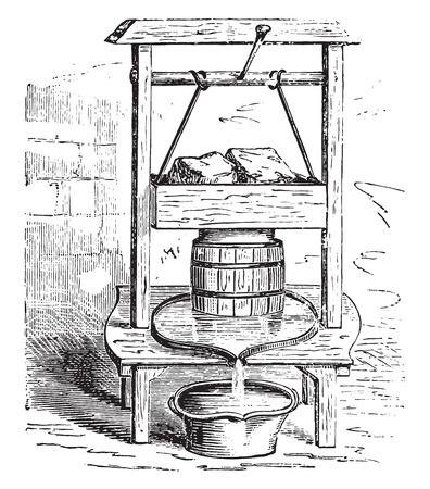 Eine Käsepresse, Jahrgang gravierte Darstellung. Standard-Bild - 41712590