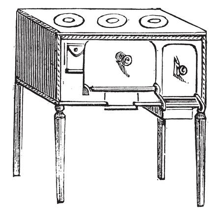 furnace: Belgian Furnace, vintage engraved illustration.